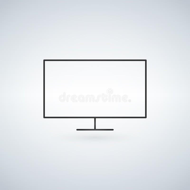 Equipo de escritorio, línea icono, muestra del vector del esquema, pictograma linear del monitor del estilo aislado en blanco Sím ilustración del vector
