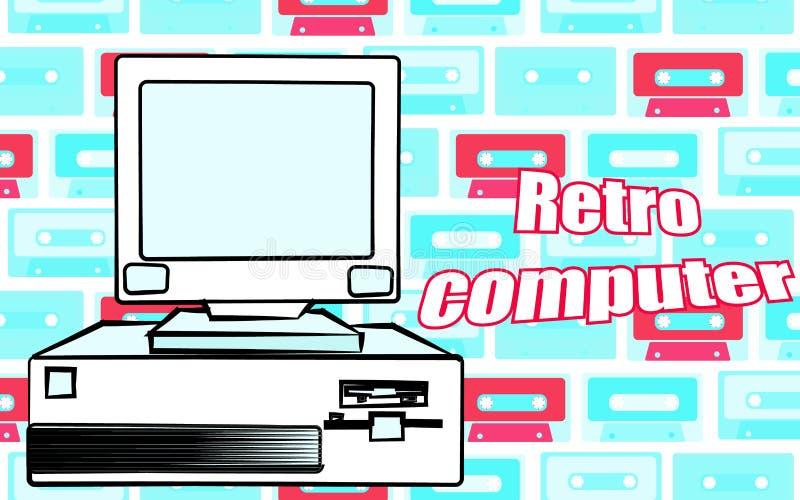 Equipo de escritorio retro del inconformista del viejo vintage y una inscripción retra del ordenador 70 del ` s, 80 ` s, 90 ` s I libre illustration