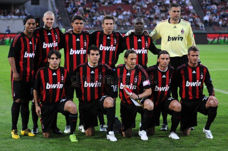 Equipo de fútbol de la CA Milano imagen de archivo libre de regalías