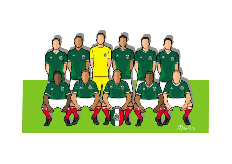 Equipo de fútbol 2018 de México ilustración del vector