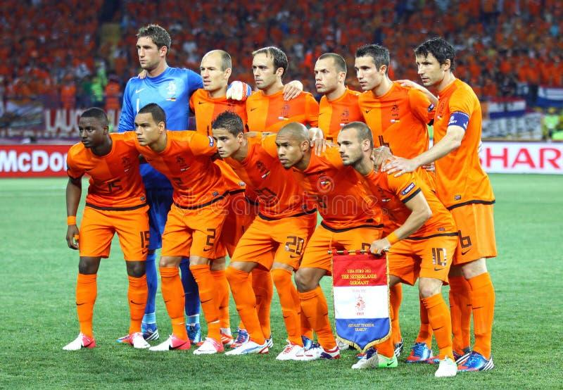 Equipo de fútbol nacional holandés foto de archivo libre de regalías