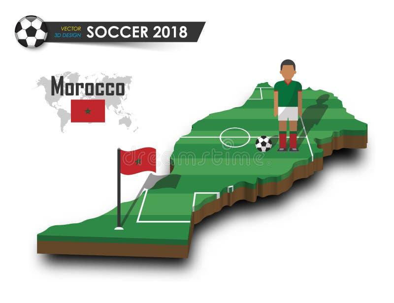 Equipo de fútbol nacional de Marruecos El futbolista y la bandera en país del diseño 3d trazan Fondo aislado Vector para el inter stock de ilustración