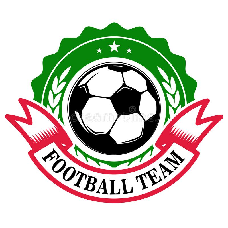 Equipo de fútbol Plantilla del emblema con el balón de fútbol Diseñe el elemento para el logotipo, etiqueta, muestra, insignia stock de ilustración