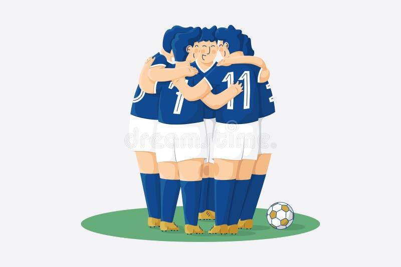Equipo de fútbol que se abraza ilustración del vector