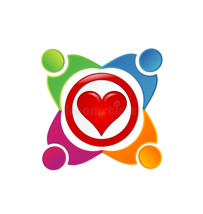 Equipo de gente cariñosa, logotipo del vector del corazón libre illustration
