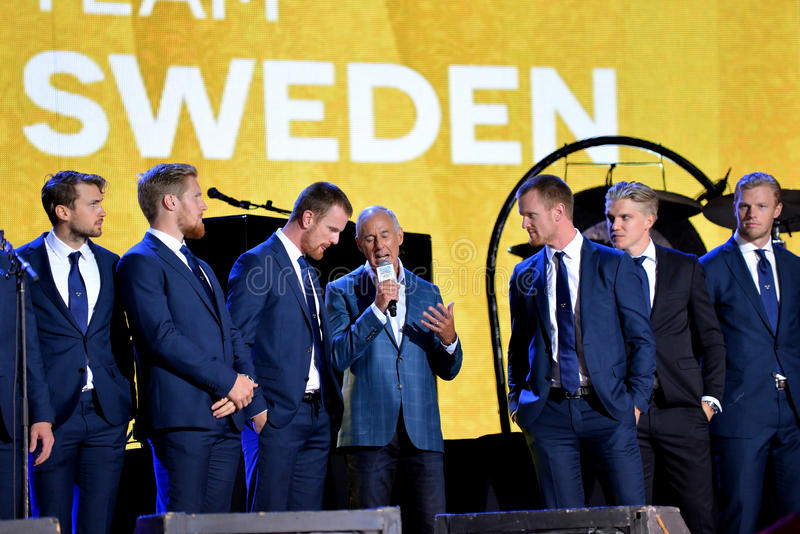 Equipo de hockey de Team Sweden fotos de archivo libres de regalías