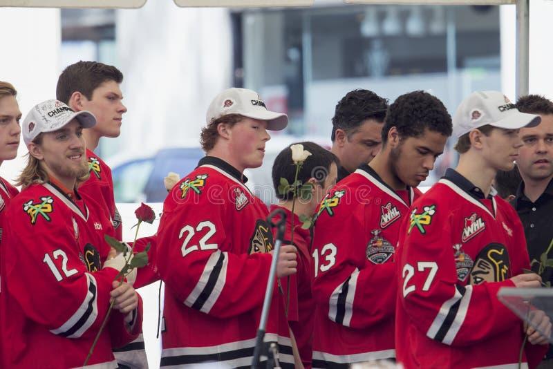 Equipo de hockey del hielo de Portland Winterhawks imagen de archivo