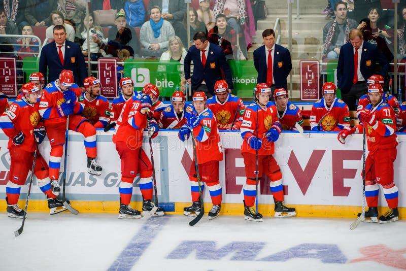 Equipo de hockey del hielo de los hombres nacionales de Rusia fotografía de archivo libre de regalías
