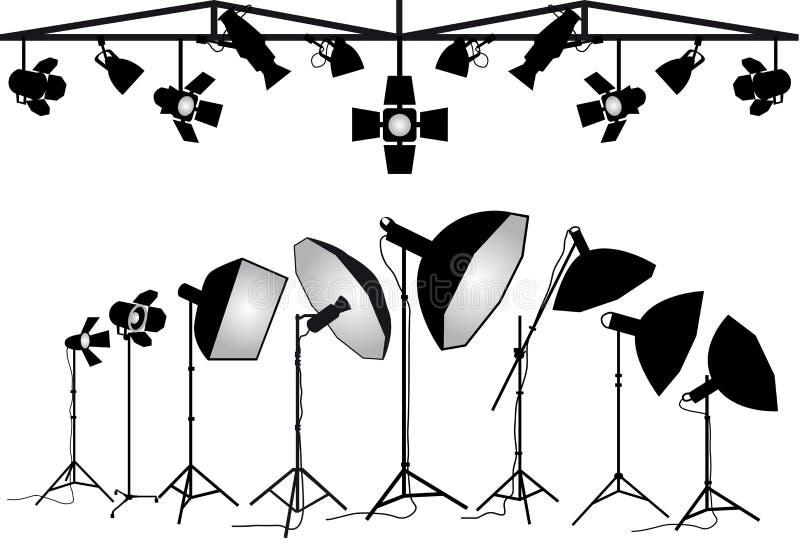 Equipo de iluminación de la fotografía, sistema del vector ilustración del vector