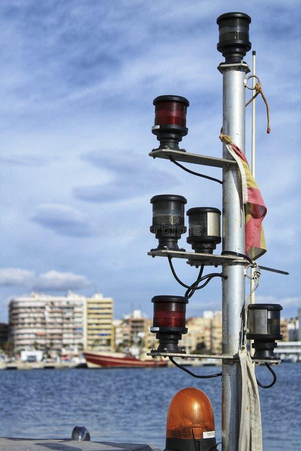 Equipo de iluminación en un barco fotos de archivo libres de regalías