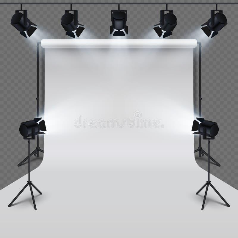 Equipo de iluminación y espacio en blanco blanco del estudio profesional de la fotografía aislado en fondo transparente stock de ilustración