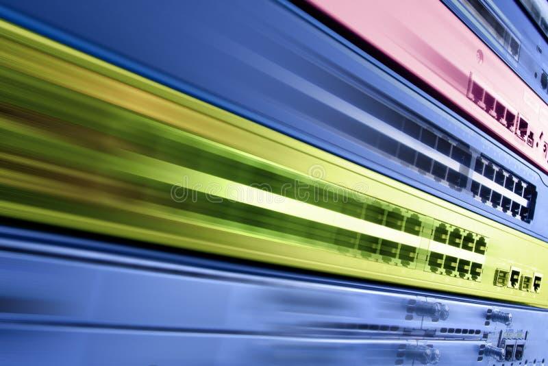 Equipo de Internet de la telecomunicación, centro de datos rápido fotos de archivo libres de regalías