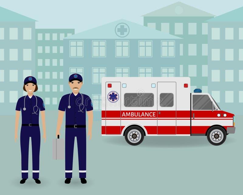 Equipo de la ambulancia de los paramédicos con el coche y el paisaje urbano de la ambulancia Empleado médico del serviice de la e ilustración del vector