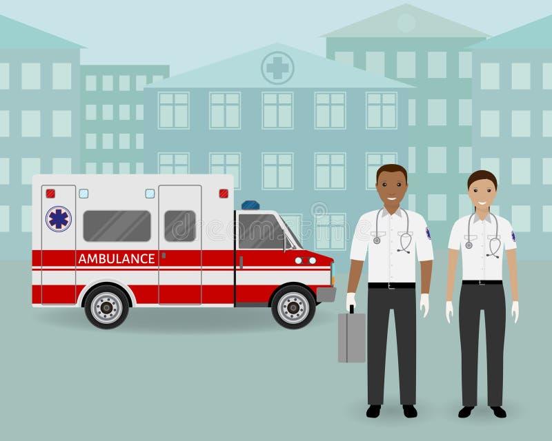 Equipo de la ambulancia de los paramédicos y coche de la ambulancia en fondo del paisaje urbano Empleado médico del serviice de l ilustración del vector