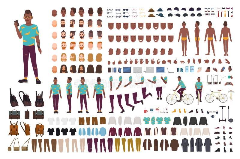 Equipo de la animación del individuo del inconformista Hombre afroamericano vestido en ropa de moda Colección de personaje de dib stock de ilustración