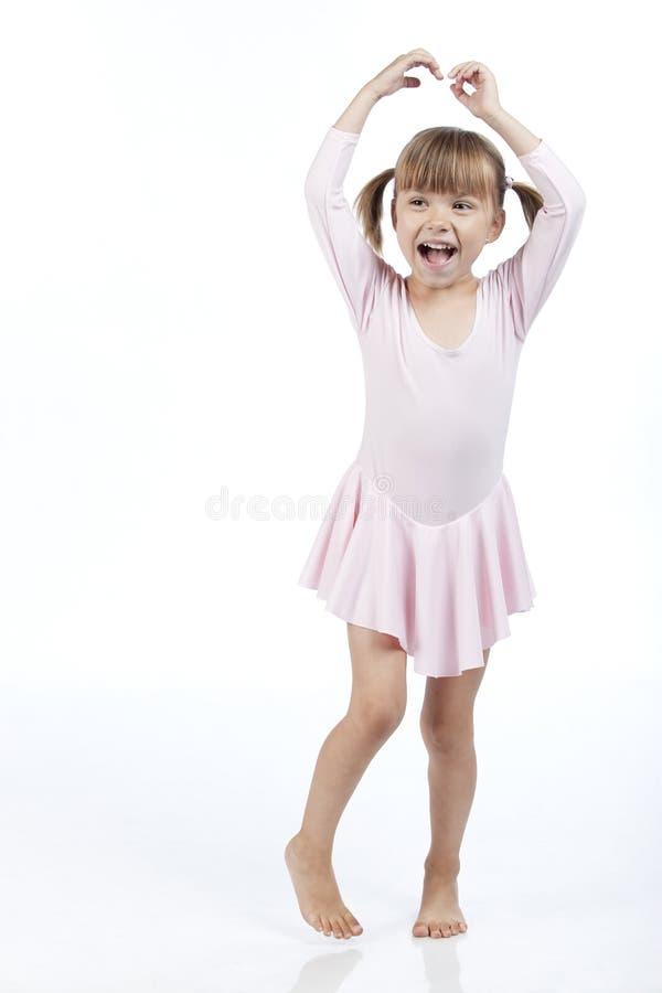 Equipo de la bailarina de la niña que desgasta alegre foto de archivo libre de regalías