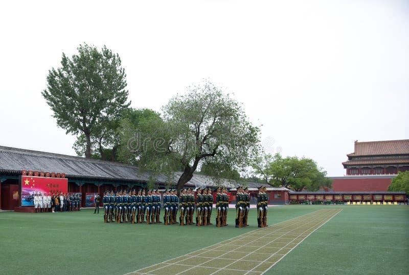 Equipo de la bandera nacional, Pekín, China fotografía de archivo libre de regalías
