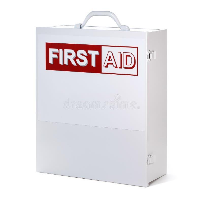 Equipo de la caja de los primeros auxilios en el fondo blanco imagen de archivo