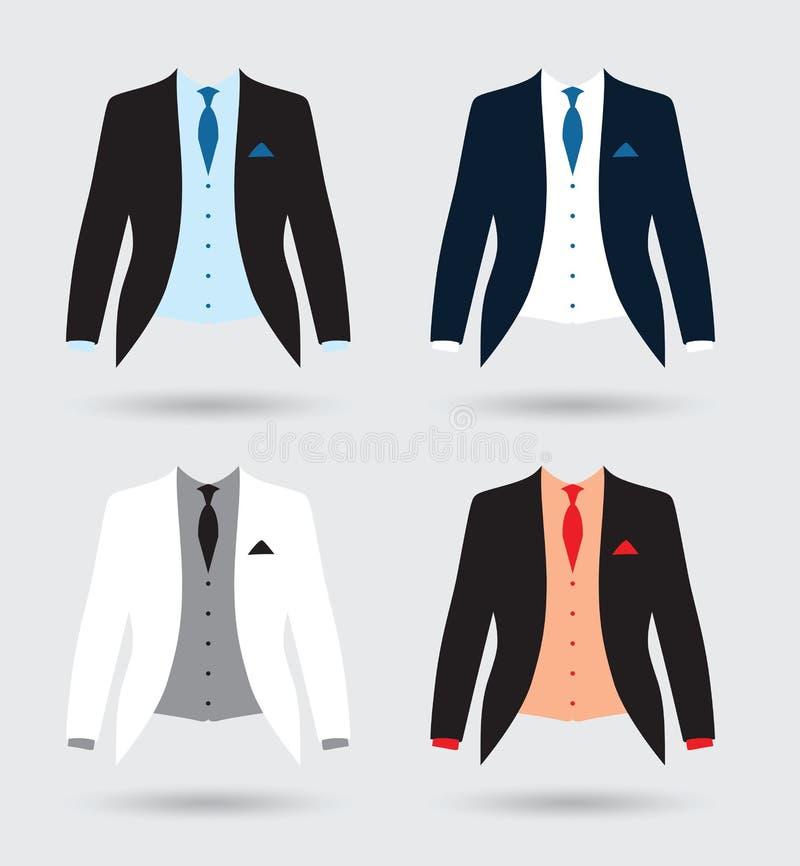 Equipo de la chaqueta del traje de los novios ilustración del vector