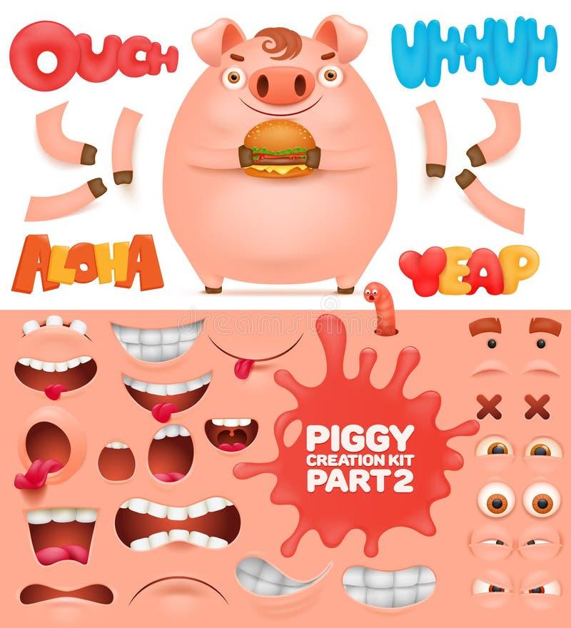 Equipo de la creación del carácter del cerdo del emoticon de la historieta libre illustration