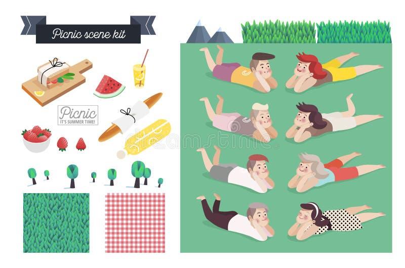 Equipo de la escena de la comida campestre ilustración del vector