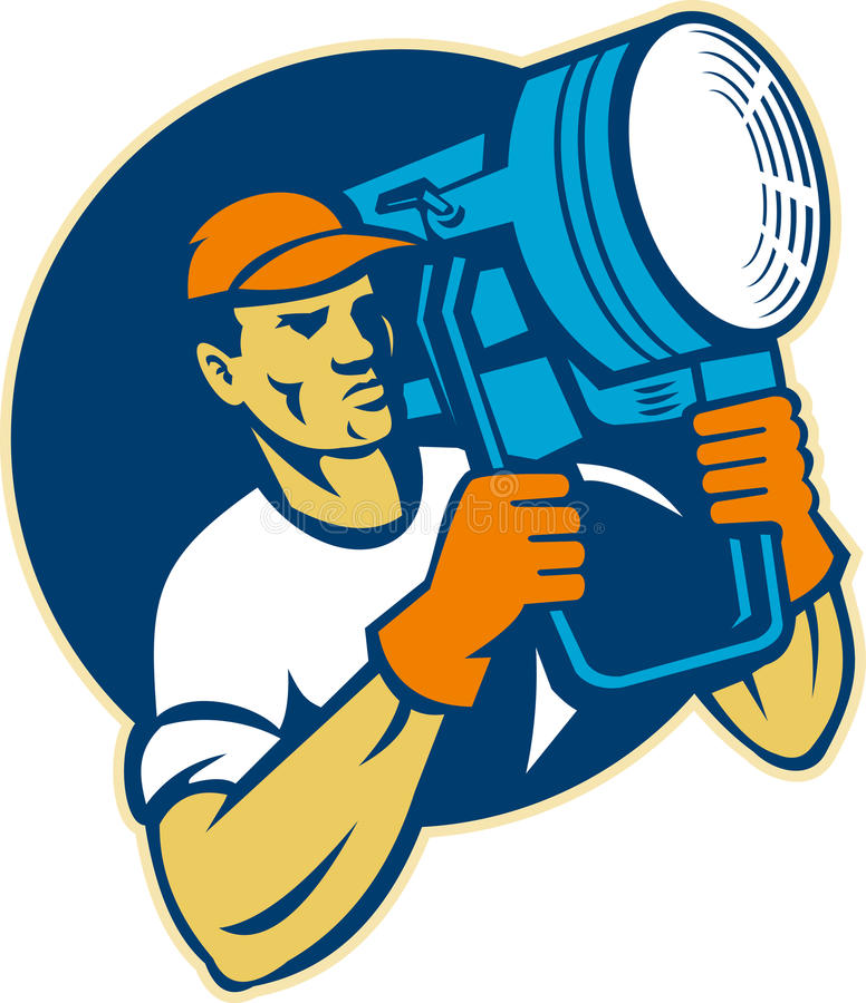 Equipo de la iluminación de la película que sostiene un proyector stock de ilustración