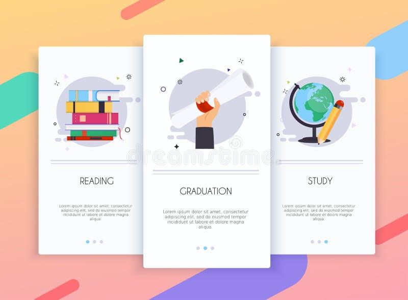 Equipo de la interfaz de usuario de las pantallas de Onboarding para el concepto móvil de las plantillas del app de educación Con libre illustration