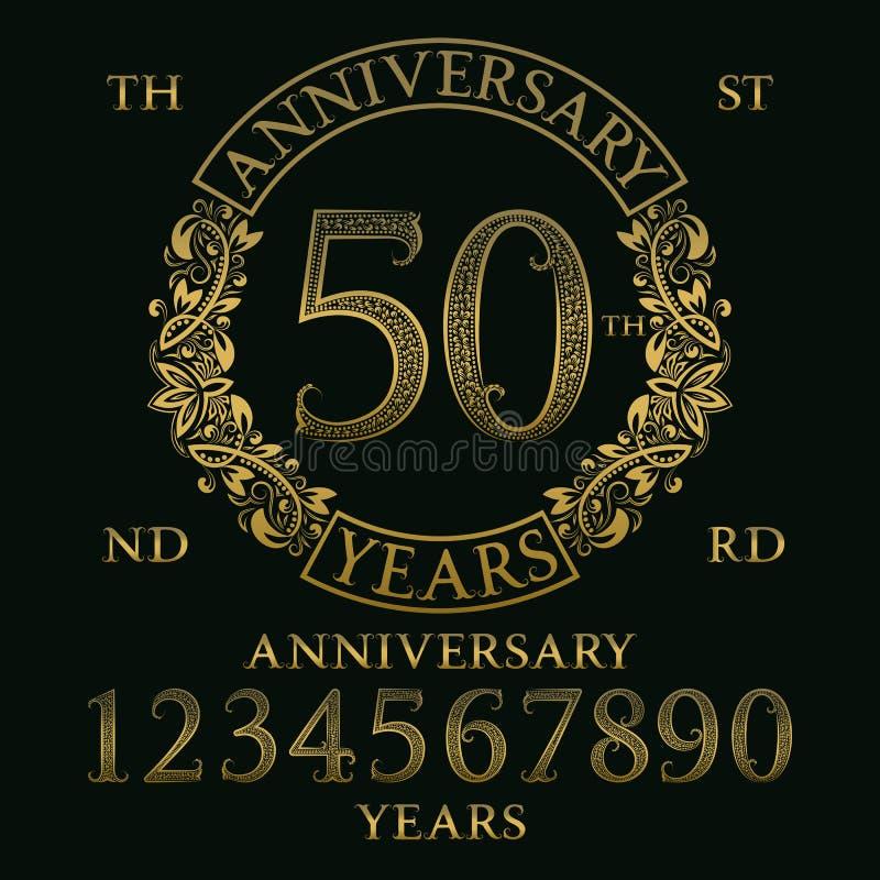 Equipo de la muestra del aniversario Números de oro, marco y algunas palabras ilustración del vector