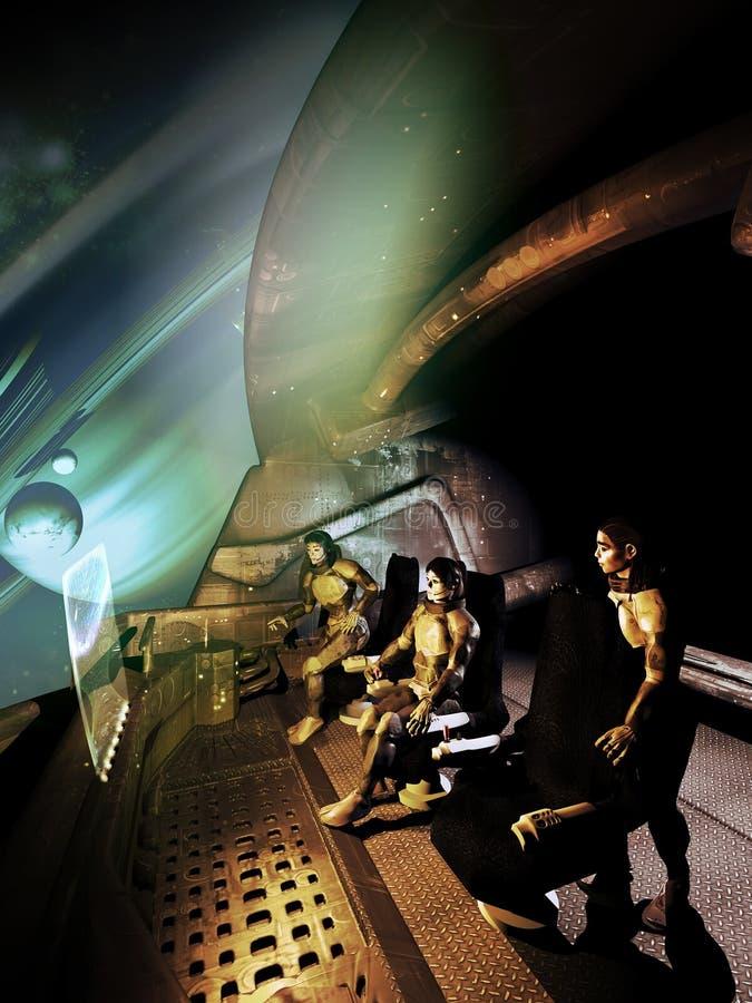 Equipo de la nave espacial de las mujeres stock de ilustración