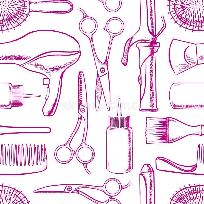 Equipo de la peluquería del bosquejo stock de ilustración