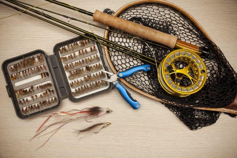 Equipo de la pesca con mosca fotos de archivo libres de regalías