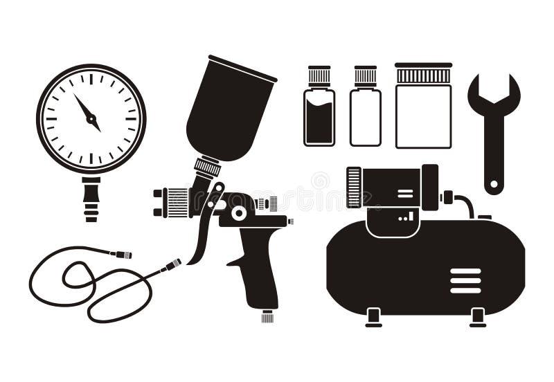 Equipo de la pintura a pistola - pictograma ilustración del vector