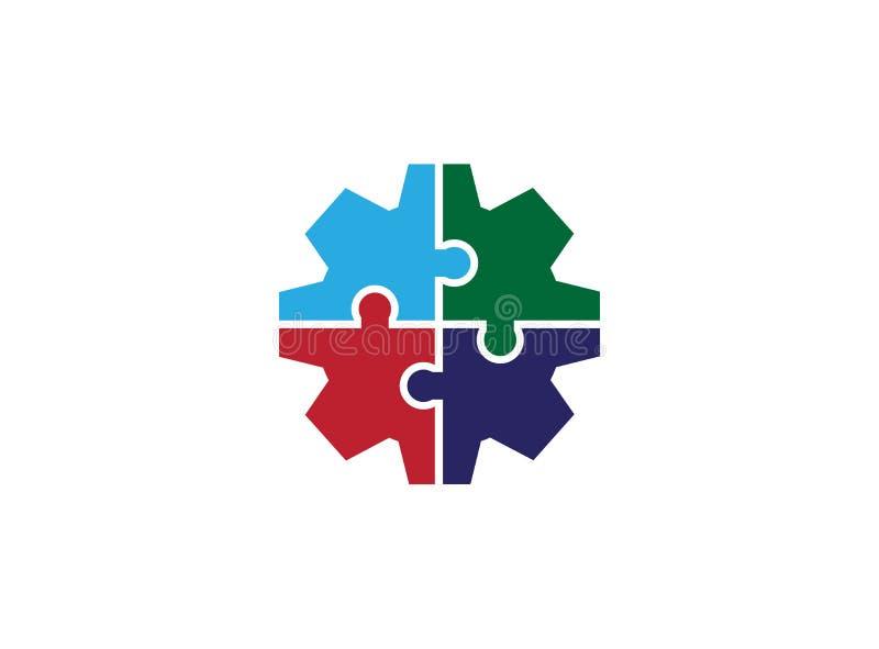 Equipo de la unión de la red del engranaje y amigos sociales de los socios para el ejemplo del diseño del logotipo ilustración del vector