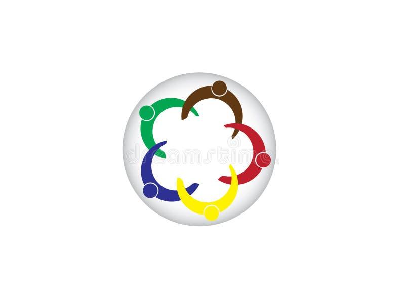 Equipo de la unión de la red y amigos sociales de los socios para el ejemplo del diseño del logotipo libre illustration