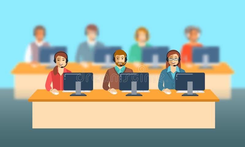 Equipo de los agentes del centro de atención telefónica en la bandera plana de la oficina libre illustration