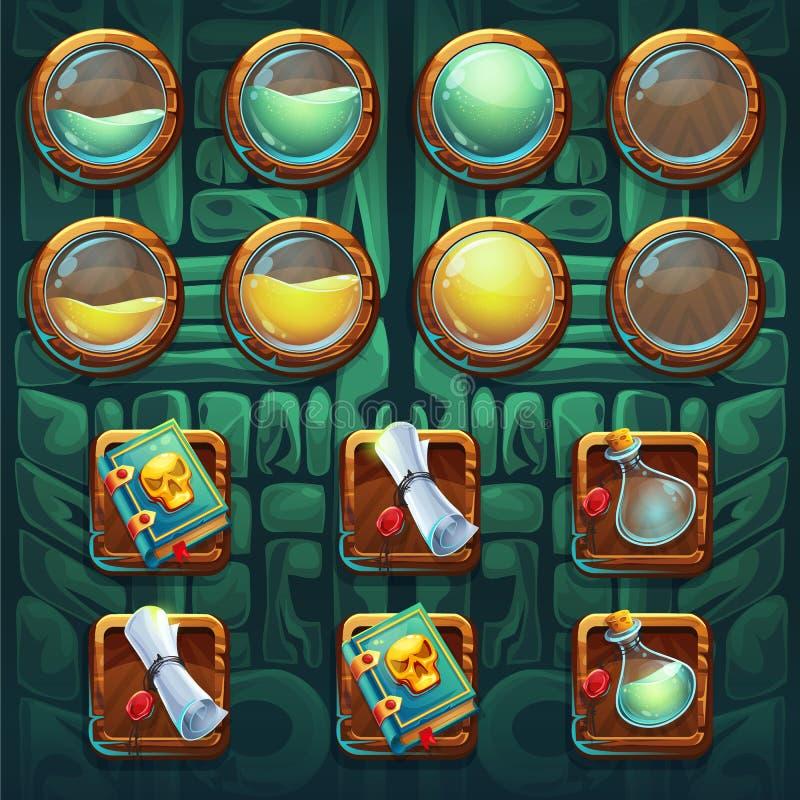 Equipo de los botones de los iconos del GUI de los chamanes de la selva stock de ilustración
