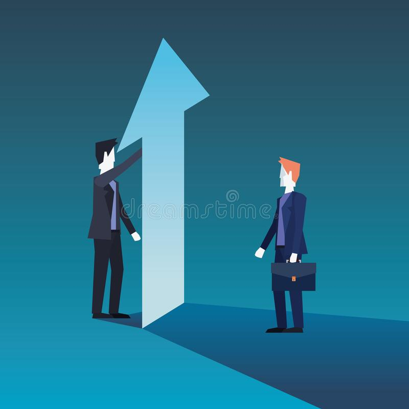 Equipo de los hombres de negocios con crecimiento financiero de la flecha libre illustration