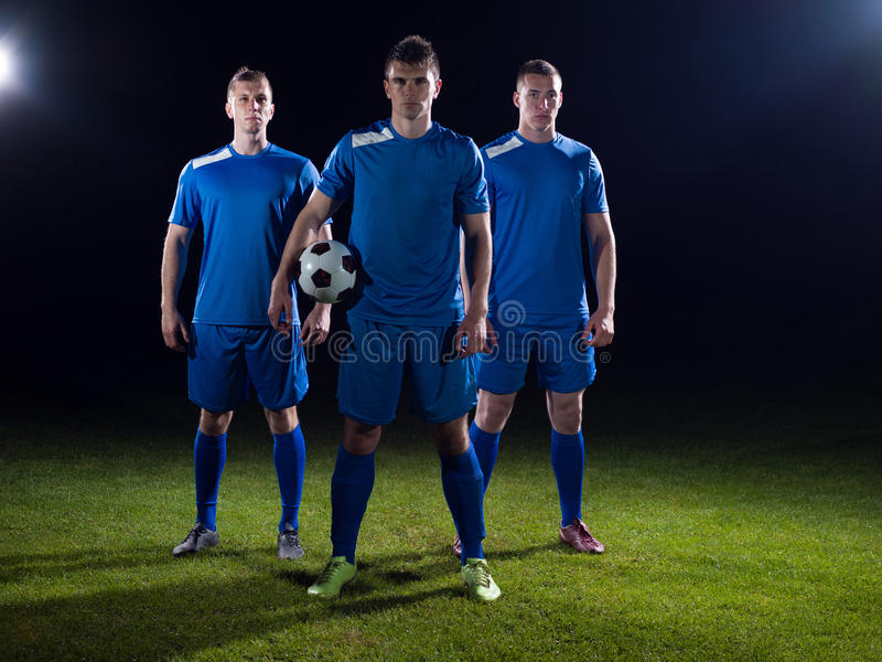 Equipo de los jugadores de fútbol imagenes de archivo
