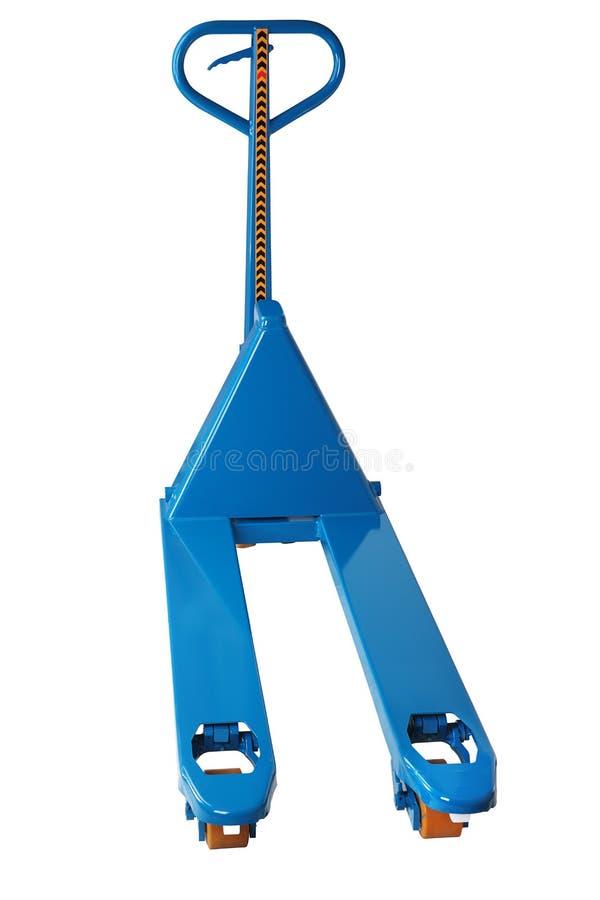Equipo de manipulación de materiales, camión de plataforma hidráulico azul de la mano fotografía de archivo libre de regalías