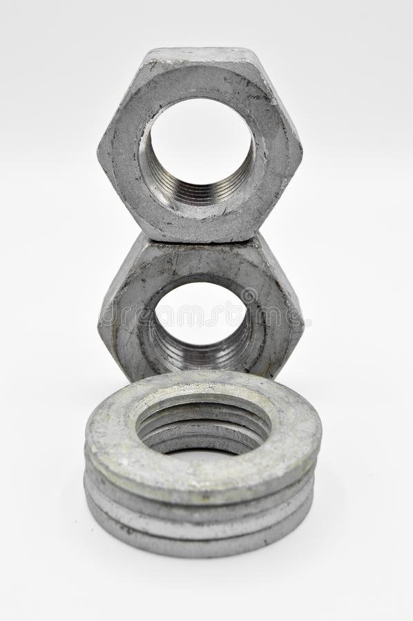 Equipo de metales pesados de las lavadoras y de las herramientas de la nuez Perno, rebordes foto de archivo libre de regalías