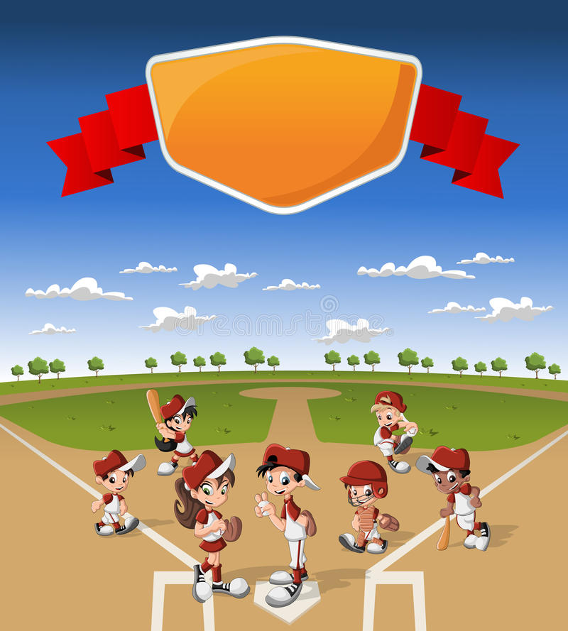 Equipo de niños de la historieta que juegan a béisbol libre illustration