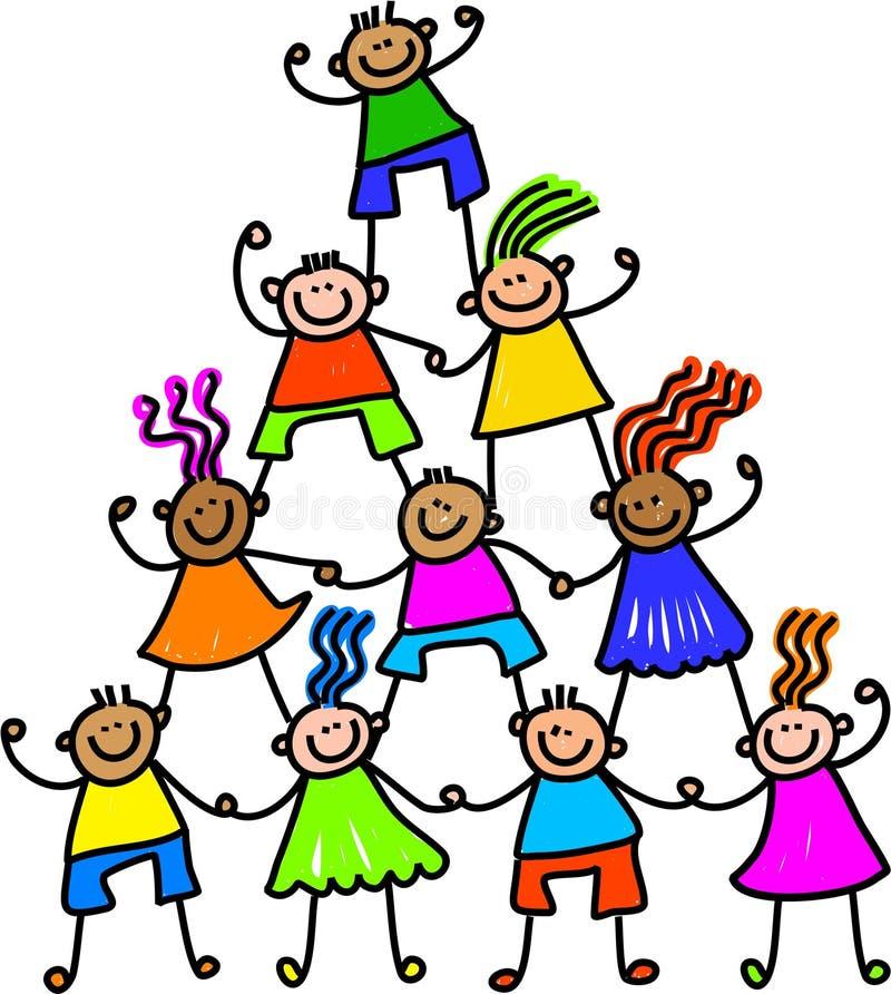 Equipo de niños felices stock de ilustración