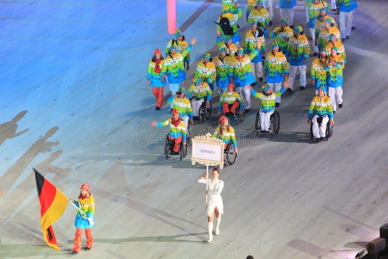 Equipo de Paraolympic de Alemania en la ceremonia de inauguración del invierno Parao fotografía de archivo libre de regalías