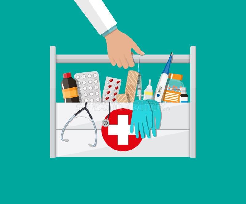 Equipo de primeros auxilios con las píldoras y los aparatos médicos stock de ilustración