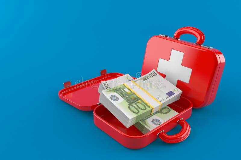 Equipo de primeros auxilios con moneda euro ilustración del vector