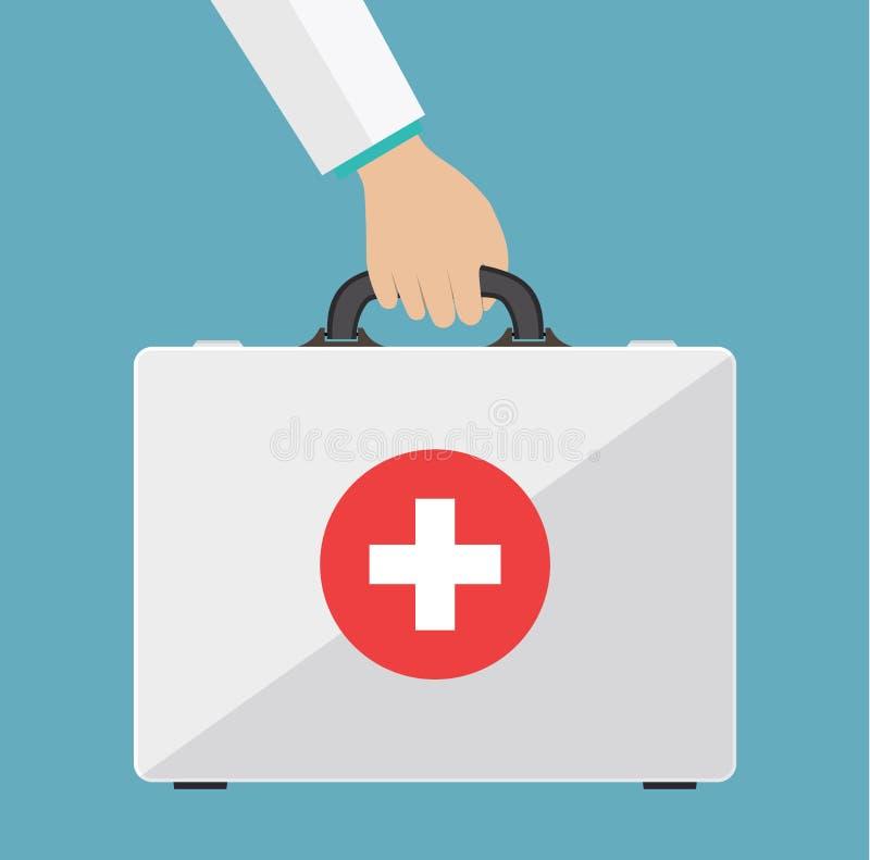 Equipo de primeros auxilios en las manos de los doctores stock de ilustración