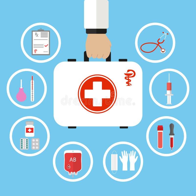 Equipo de primeros auxilios en mano del doctor Ayuda médica Concepto del seguro de la atención sanitaria libre illustration