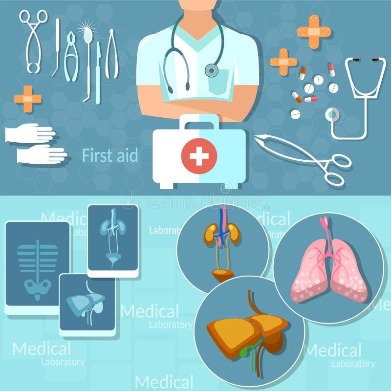 Equipo de primeros auxilios médico de los instrumentos del hospital del hombre del doctor de la medicina ilustración del vector