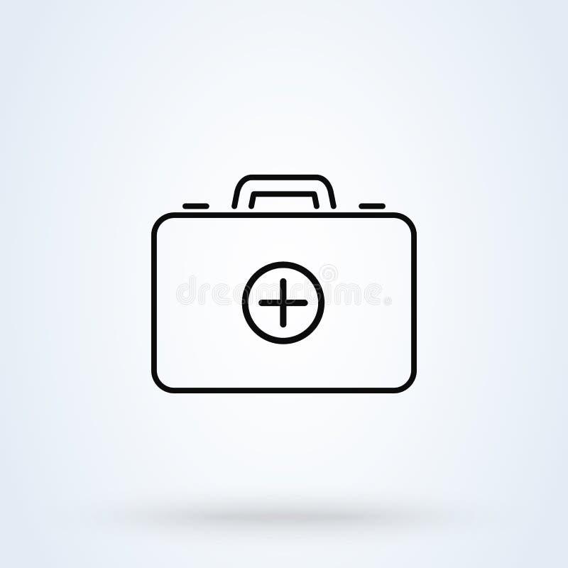 equipo de primeros auxilios m?dico línea ejemplo moderno del diseño del icono del vector simple del arte libre illustration