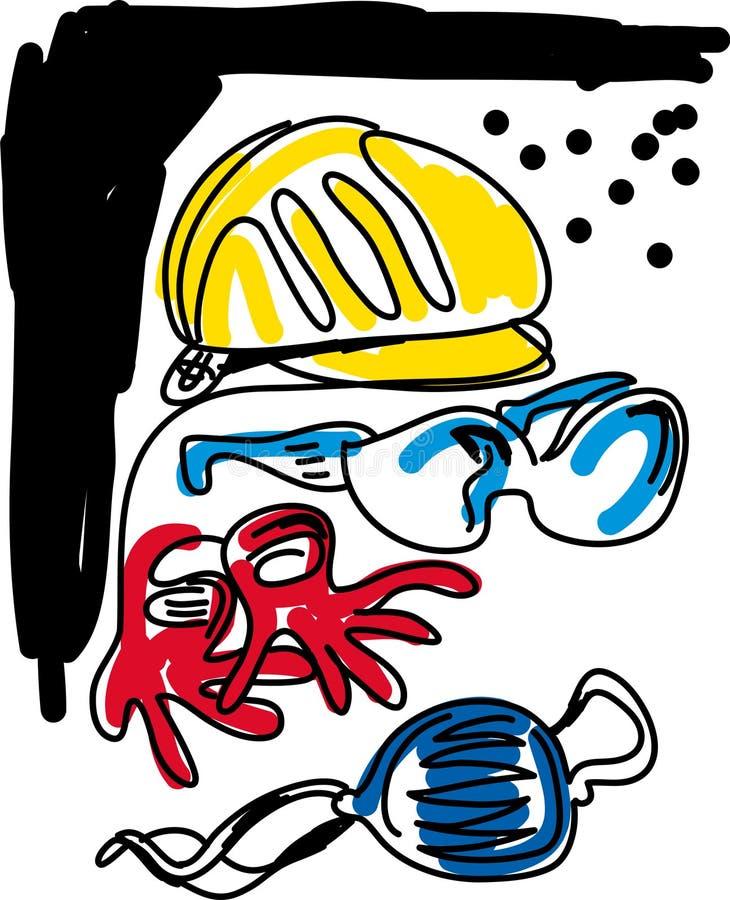 Equipo de seguridad stock de ilustración